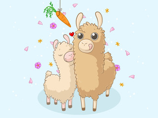 Süße Comic Alpaka Familie