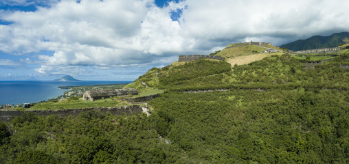Aerial panoramic view of Brimstone Fortress, a landmark on St Kitts.