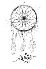 Dreamcatcher with bird feather beads lace & dots. Hand drawn beautiful design isolated white background. Boho tribal, indian dream catcher. Black gray graphic vector hipster style illustration element