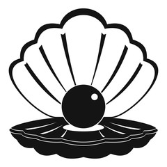Pearl in a sea shell icon, simple style