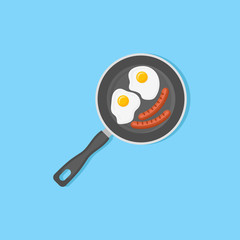 Fried eggs and sausages in frying pan isolated on blue background. Top view. Flat style vector illustration.