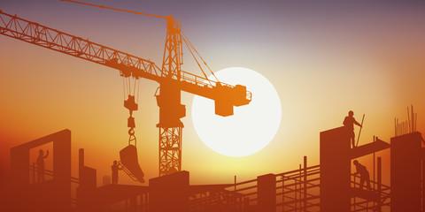 chantier - BTP - grue - construction - bâtiment - construire - ouvrier - béton - concept - travaux publics