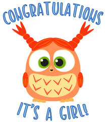 Congratulations it s a girl colorful poster.