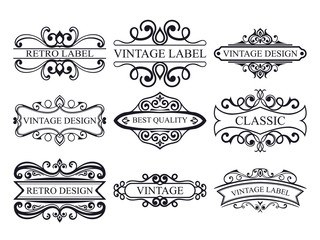 Set of vintage calligraphic labels. Ornate logo templates for design of invitations, greeting cards, banners, posters, placards, badges, hotel, restaurant and business identity.
