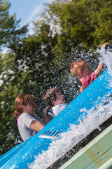 Water Roller Coaster in Amusement Park with Water Splash
