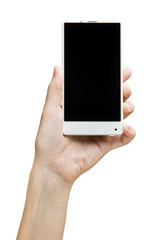 Hand holding white bezelless smartphone with blank screen on white background