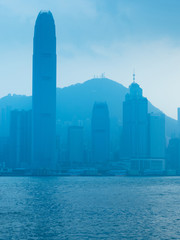 Hong Kong city skyline landmark view.