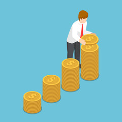 Isometric businessman put coin to growth stack of coins.
