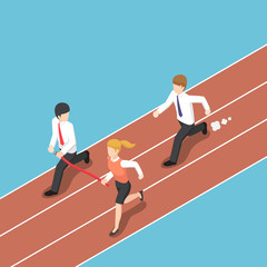 Isometric business rival hold finish line away from businessman.