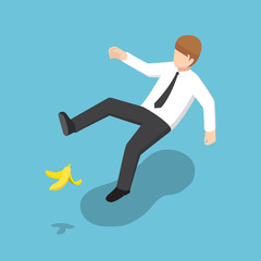 Isometric businessman slipped on a banana peel.