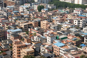 A closeup view from the top of houses in Foshan, China