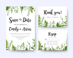 Wedding invite, invitation menu rsvp thank you card vector floral greenery design: Forest fern frond, Eucalyptus branch green leaves foliage, herbs greenery leaf frame border. Watercolor template set.