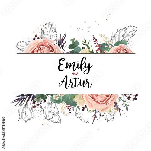 Vector Floral Design Card Boho Art Wedding Watercolor Invitation