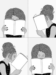 Hand drawn illustrations of girls reading, hiding their faces behind their books - empty books to add your own text