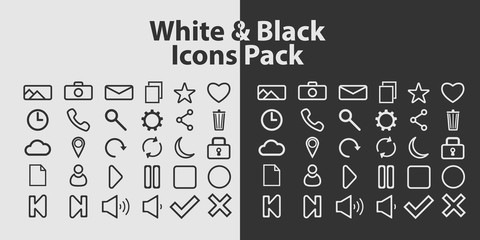 Set of outline icons on white and black background. Vector contour icons.