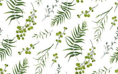 Palm fern different tree foliage natural branches with green leaves seeds berries tropical seamless pattern, watercolor style. Vector decorative beautiful cute elegant illustration on white background