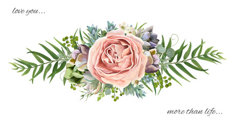 Vector floral bouquet design: garden pink peach lavender Rose wax flower, Eucalyptus branch green fern palm leaves, succulent berry. Wedding vector invite illustration Watercolor designer cute element
