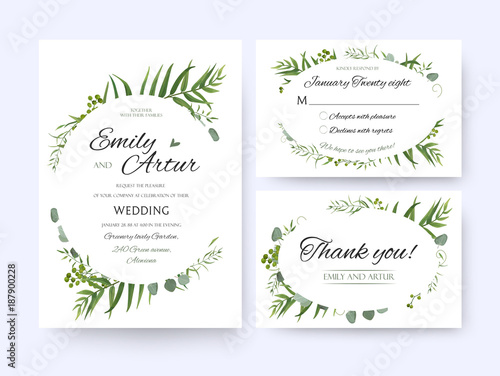 Wedding invite invitation rsvp thank you card vector floral wedding invite invitation rsvp thank you card vector floral greenery design forest fern frond stopboris Images