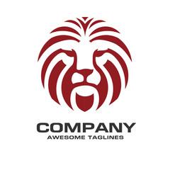 Lion head red color logo vector, lion king head sign concept, Lions head logo, lion face graphic illustration, Design element