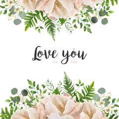 Vector card floral Flower Bouquet design with Peach, pink powder Peony, wax flowers eucalyptus, green fern leaf, berry herbal mix. Greeting cute elegant template with text space. Wedding tender invite