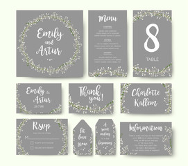 Wedding floral invitation invite flower card silver gray design: garden Baby's breath Gypsophila tiny flower wreath romantic rsvp, menu, label, thank you cards. Vector romantic print. Elegant template