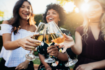 Female friends having drinks at party outdoors