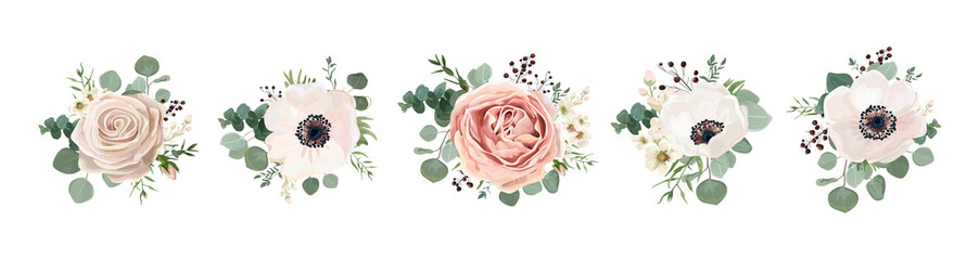 Vector floral bouquet design: garden pink peach lavender creamy powder pale Rose wax flower, anemone Eucalyptus branch greenery leaves berry. Wedding vector invite card Watercolor designer element set