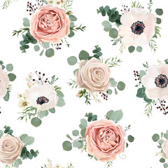 Seamless pattern Vector floral watercolor style design garden powder white pink Anemone flower silver Eucalyptus branch green thyme wax flowers greenery leaves berry. Rustic romantic background print