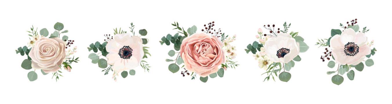 Vector floral bouquet design: garden pink peach lavender creamy powder pale Rose wax flower, anemone Eucalyptus branch greenery leaves berry. Wedding vector invite card Watercolor designer element set
