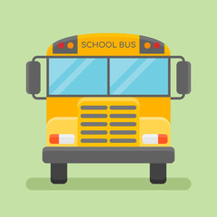 Yellow school bus isolated on green background. Front view. Flat style icon. Vector illustration.