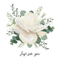 Flower Bouquet floral bunch, vector design object element. White