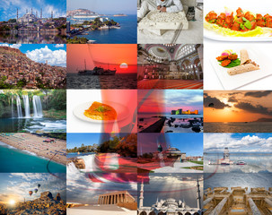 Stack of Turkey travel images - nature and architecture background with glass of tea