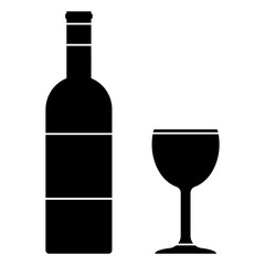 Wine bottle and cup silhouettes. Vector icon.