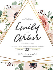 Vector floral design card. Garden lavender pink Rose anemone wax eucalyptus green fern forest leaves herb plant greenery mix. Natural botanical Wedding invite. Geometrical triangle golden Frame border