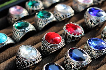 Diamond ring on red cloth