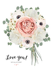 Flower Bouquet floral bunch, vector card design with bouquet of Peach, pale pink Anemone white garden Rose flowers, wax Eucalyptus branch greenery. Rustic elegant wedding invite. All elements editable