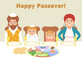 jewish family at feast of passover greeting card illustration