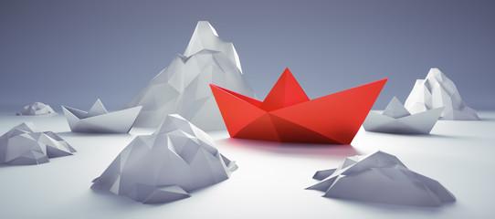 Rotes Papierschiff zwischen Eisbergen