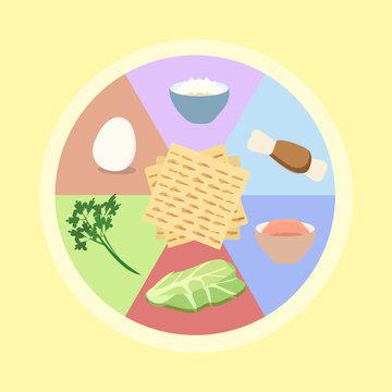 seder plate for Passover vector illustration