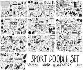 Set of Sport Hand drawn doodle Sketch line vector scribble eps10