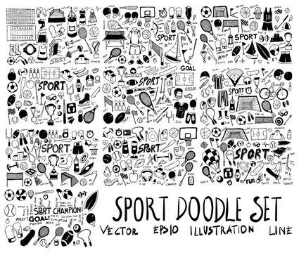 Set of Sport Hand drawn doodle Sketch line vector scribble eps10