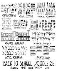 Set of School Hand drawn doodle Sketch line vector scribble eps10