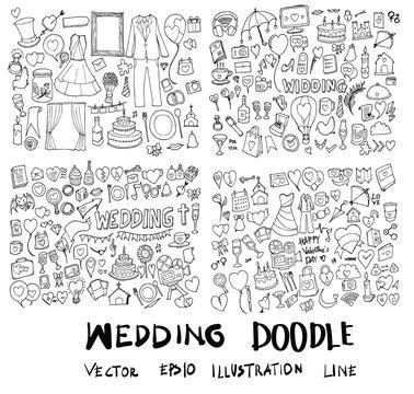 Set of Wedding Hand drawn doodle Sketch line vector scribble eps10