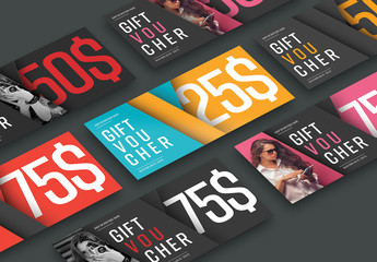 Gift Card and Voucher Set with Diagonal Design and Photo Elements