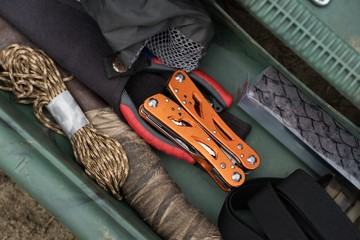 Fishing equipment in box