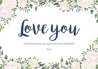 Vector floral card design: garden white, creamy Ranunculus flower, green Eucalyptus, greenery fern mistletoe leaves & berry bouquet. Wedding vector invitation, greeting. Watercolor style cute template