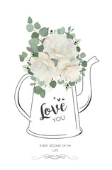 Floral elegant card vector Design: White rose peony flower juniper berry branches, green Eucalyptus silver leaves bouquet in line hand drawn kettle vase. Illustration for Wedding invite, love you text