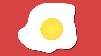 Aluminium Prints Egg fried egg icon, cartoon food graphic pink