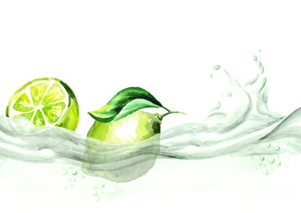 Fresh lime on a wave of juice, watercolor hand drawn illustration