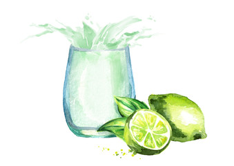 Glass of lime juice with splash. Watercolor hand drawn illustration